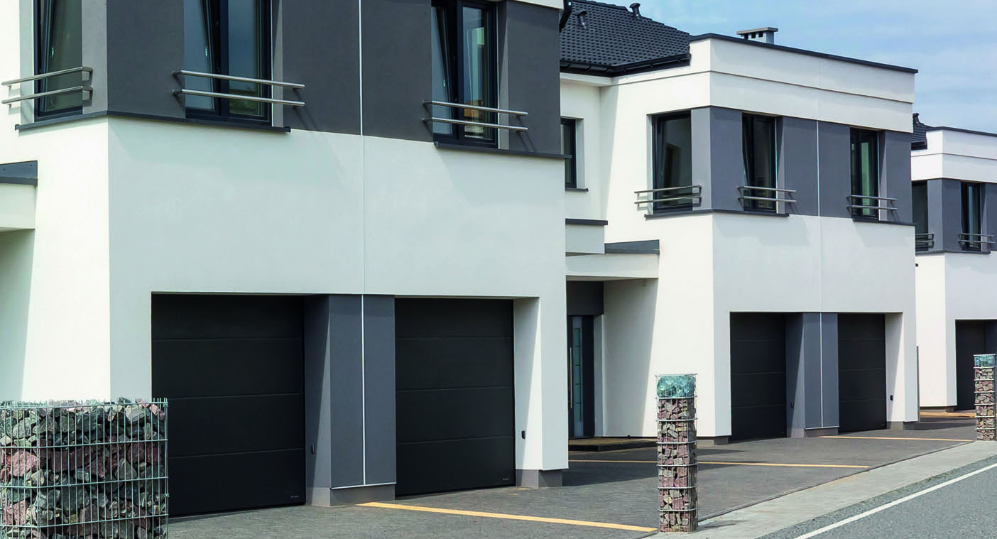 A sectional garage door – ideal for non-spacious driveways